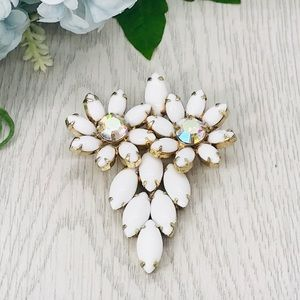 Vintage Juliana Style Milk Glass Rhinestone Brooch